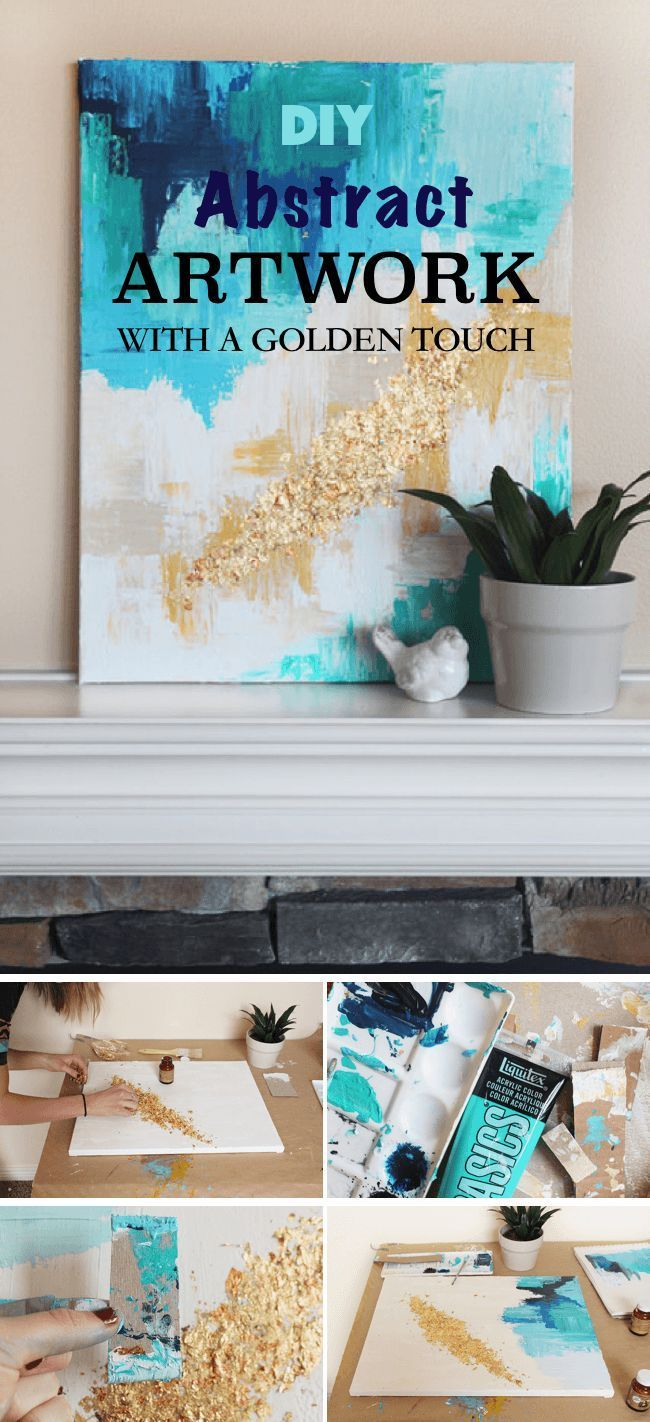 Love this DIY Abstract Art With A Golden Touch!  Check out all of these simple d...