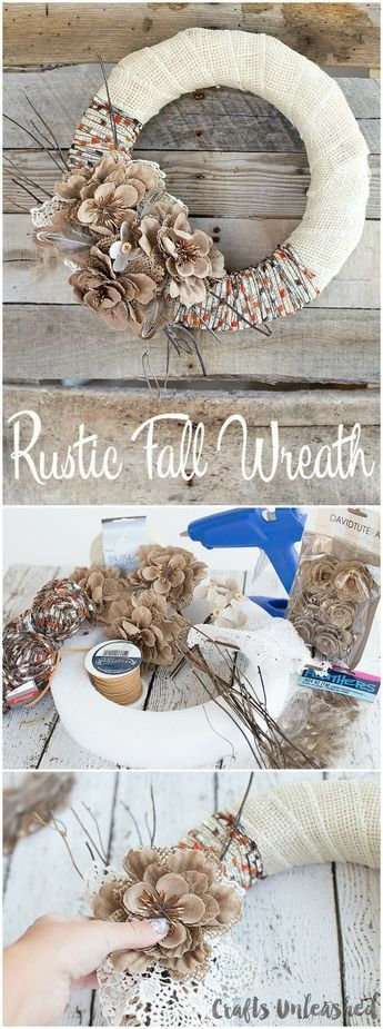 Fall Wreath DIY Project Idea: Burlap & Yarn - Consumer Crafts