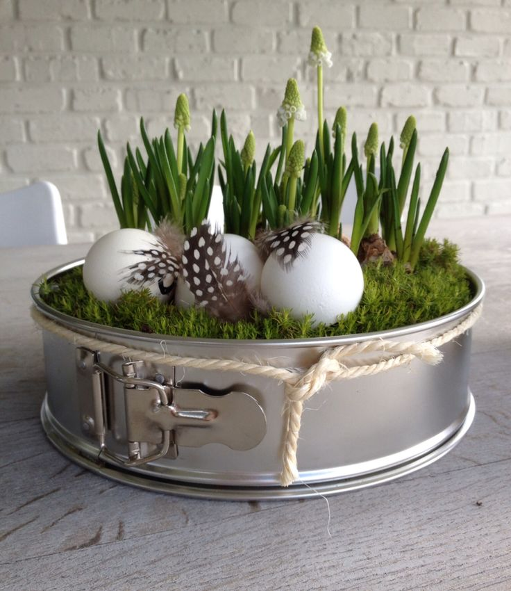 Outside Easter decoration. Outside Easter decoration. Cake pan, eggs & white grapes ...