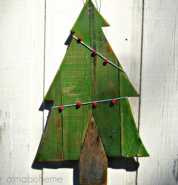 This christmas wood trees are handmade from reclaimed pallet wood, then painted ...