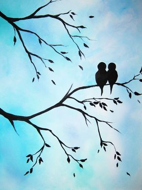 Large abstract painting art Love Birds in von PaintingsAbstract