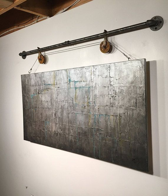 Original Large abstract painting industrial pipe wall hanging rustic wall decor ...