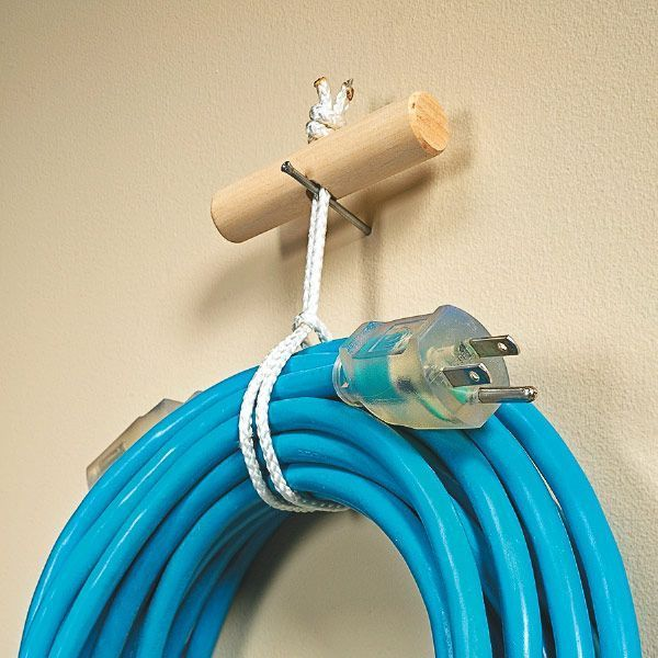 DIY: How to make a cord hanger - with a dowel and a piece of ...