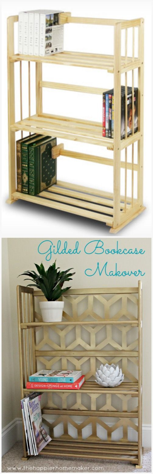Gilded Bookcase Makeover-Wayfair and Hometalk DIY Challenge - The Happier Homema...