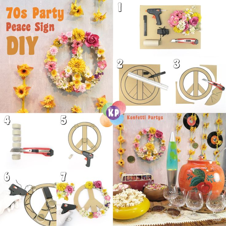 70s Party Peace Sign DIY #hippie #Peaceful #konfettipartys #diy #70s