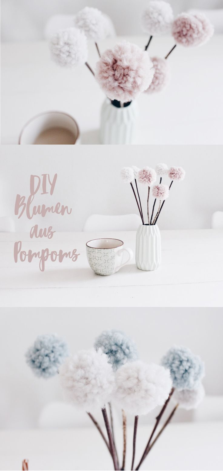 DIY DECO - making flowers from pompoms yourself. With wool and natural materials bast ...