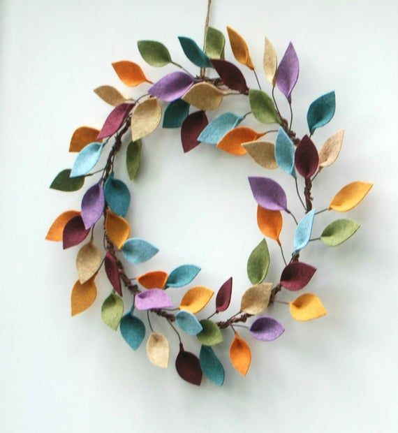 Minimalist Fall Wreath  Autumn Wool Felt Leaf Wreath  image 1