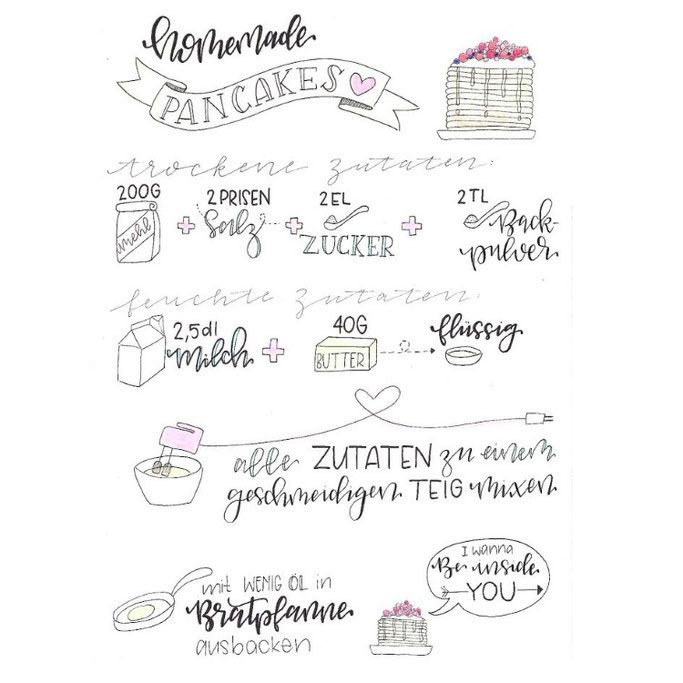 Letter Lovers donnerletter: Handlettering Recipe: homemade pancakes