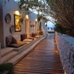 cool garden and terrace design with bench and wooden garden path #cool ...
