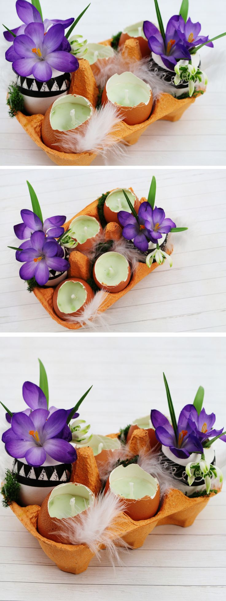 DIY table decoration for Easter tinker - beautiful DIY decoration idea. Easy to tinker, w ...