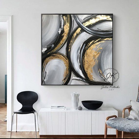 Extra Large Wall Art Gold Foil Abstract Painting Black | Etsy