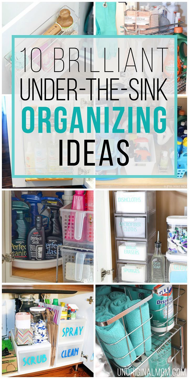 I love all of these great ideas for under the sink organization! #undersinkorgan...