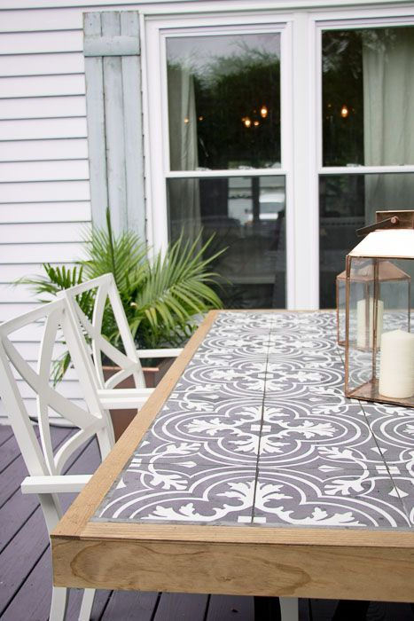DIY Tile Tabletop: Using Merola Tiles Let's first talk about the dreamy black ...