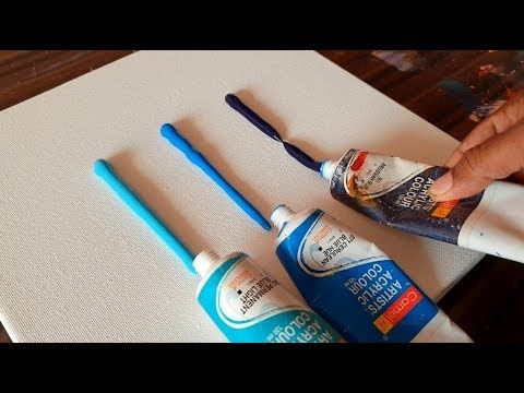 Easy & Satisfying / Abstract Painting Demo/ Spreading paints on canvas/ Project ...