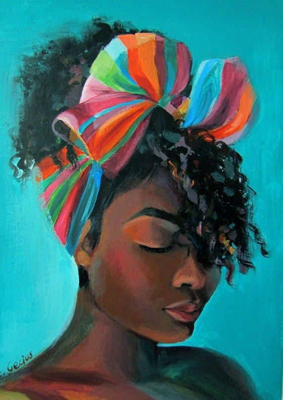 Picture // African Woman // Original painting // 30 x 40 cm // Imani by Elisabet...