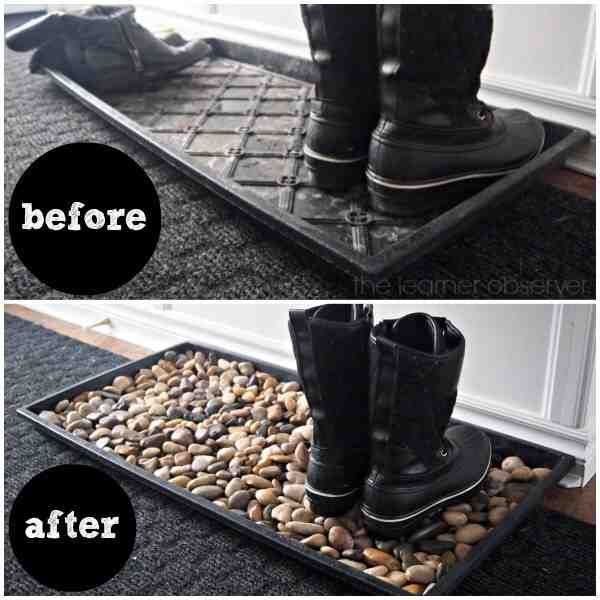 DIY Ideas & DIY Projects  5 minute boot tray fox with river rocks.#/3005825/5-mi...
