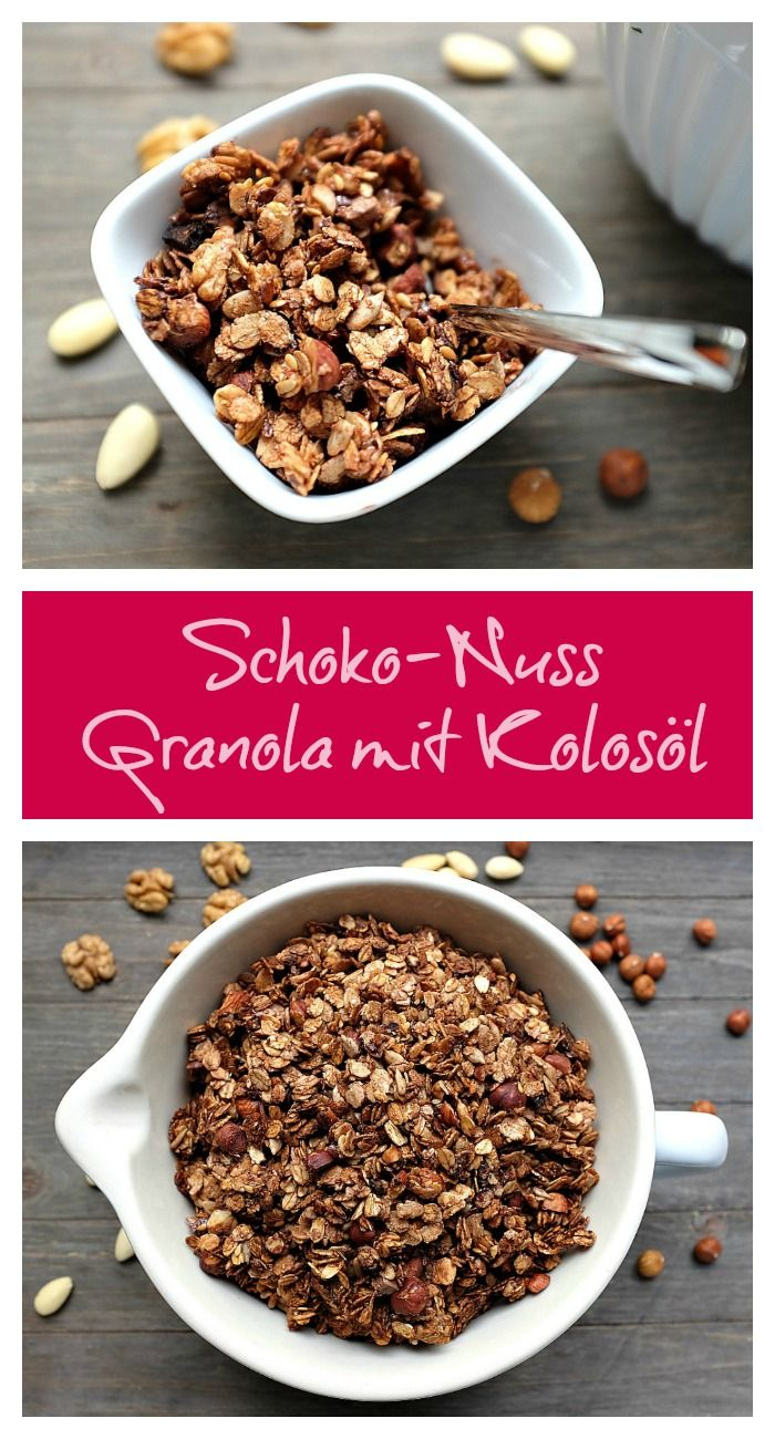 A breakfast dream: chocolate nut granola with coconut oil