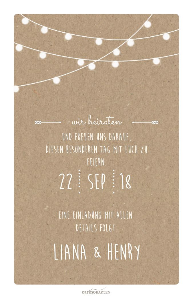 Save the date card in kraft paper with fairy lights