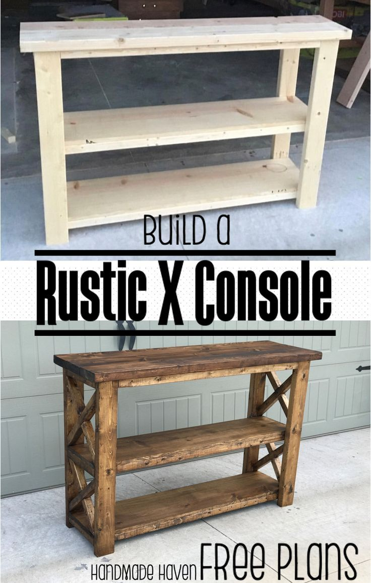 Build this easy fun DIY Rustic X Console - Free Step by Step Woodworking Plans o...