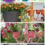 I like this re-purposed light fixture planter for outside!! Especially if the fl...