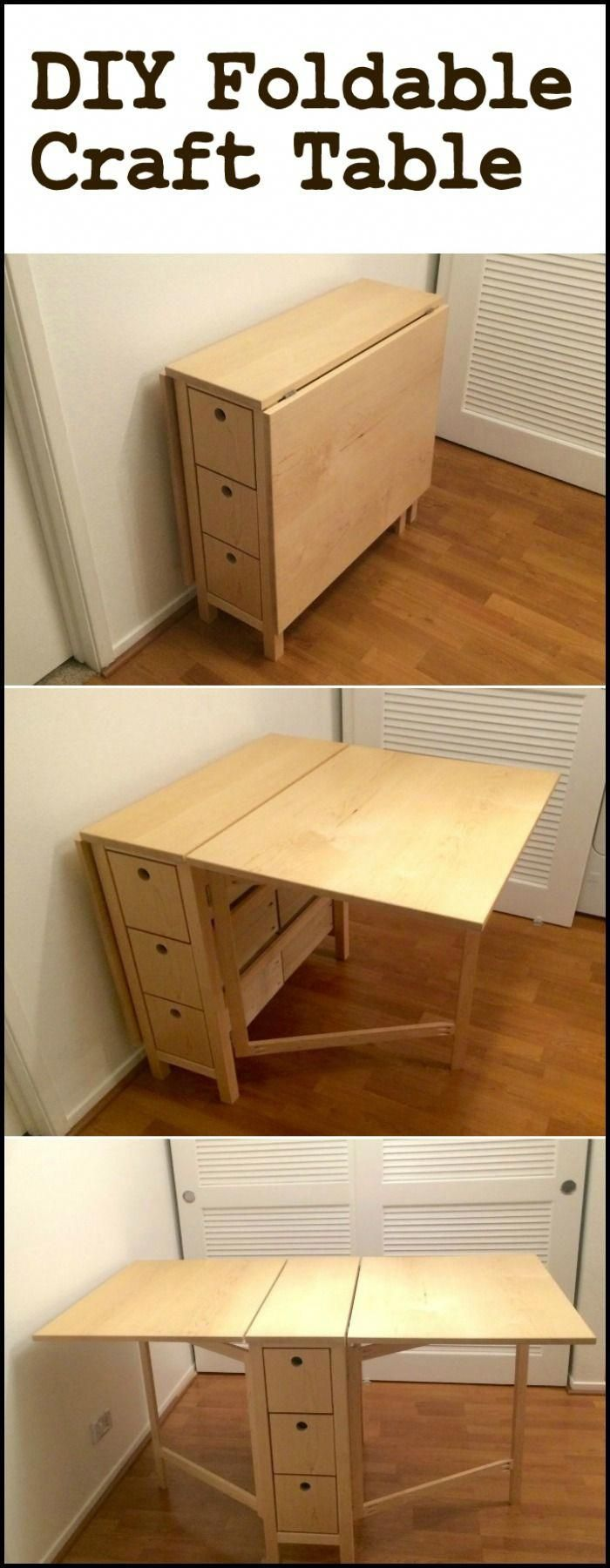 Create your own space-saving craft station by building this DIY foldable craft t...