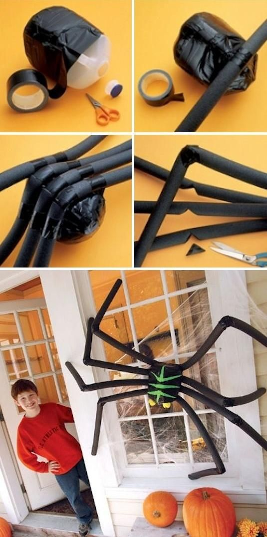 DIY Halloween Decoration Guide House Decoration Large Spider Milk Bottle
