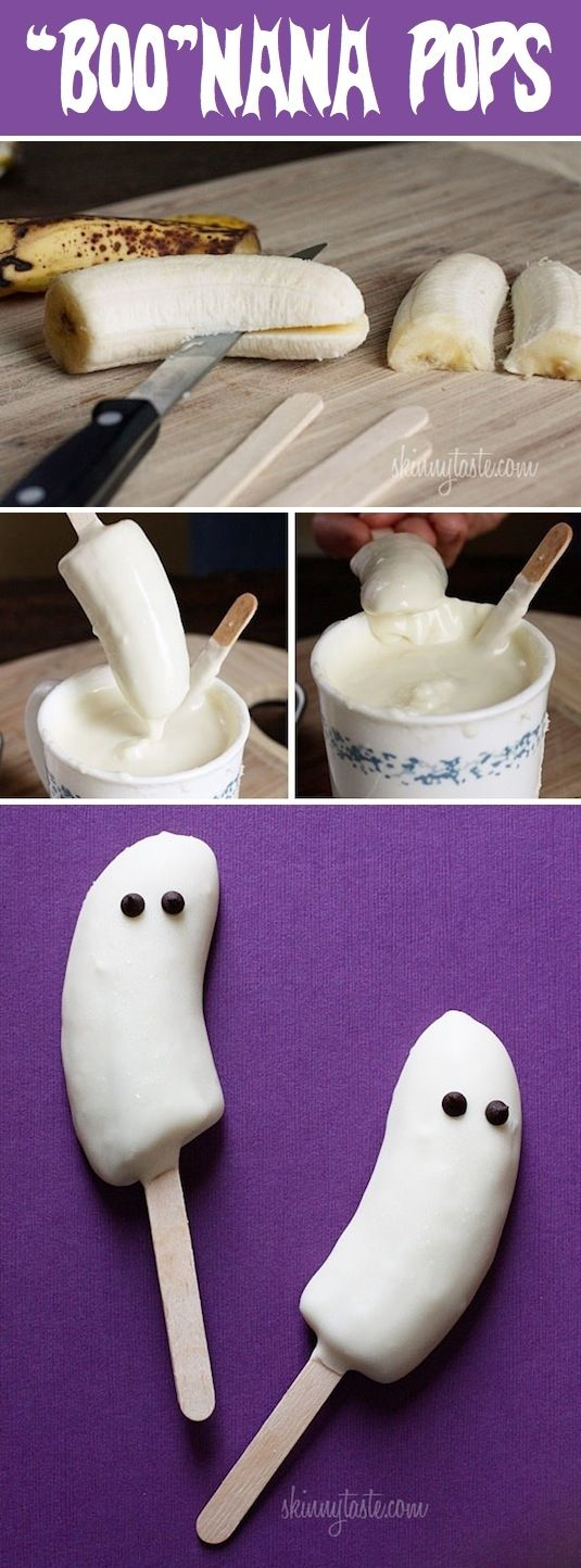 DIY Boo Nana Pops made with frozen bananas dipped in white chocolate, with choco...