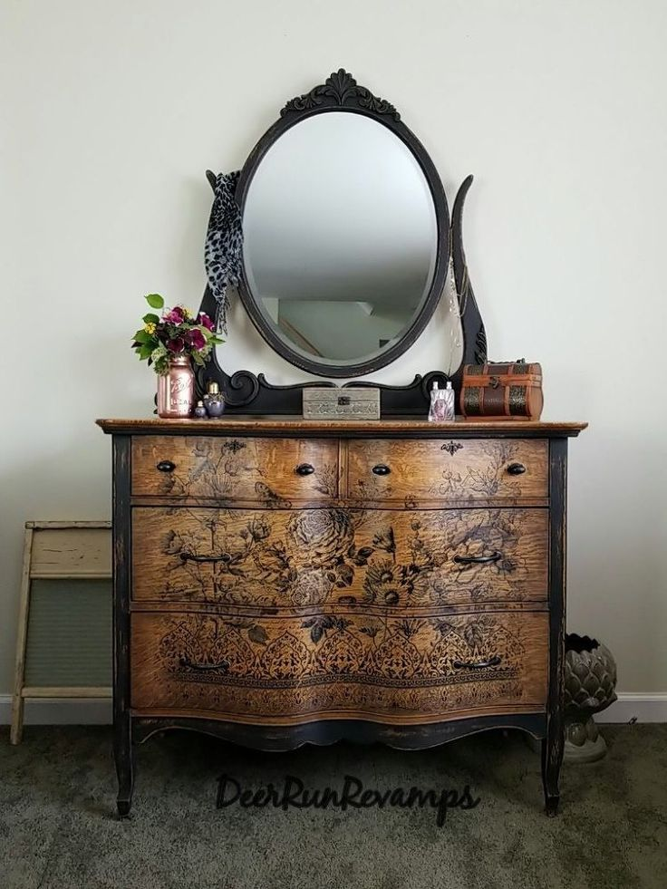 Gorgeous curvy dresser with paintable transfers. Yes, you can paint them! Most j...