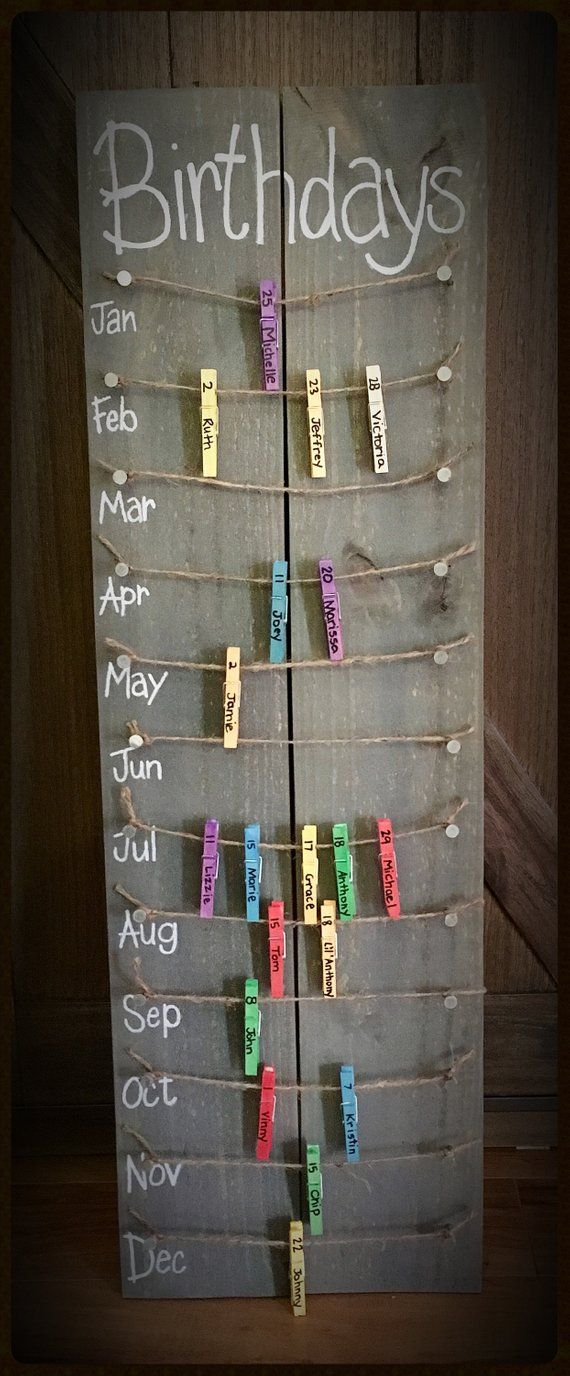 Birthday calendar board wall hanging with colored clothespins - Personalize me! ...