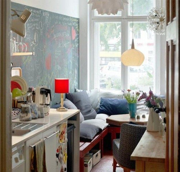 extremely small kitchen with corner kitchen red
