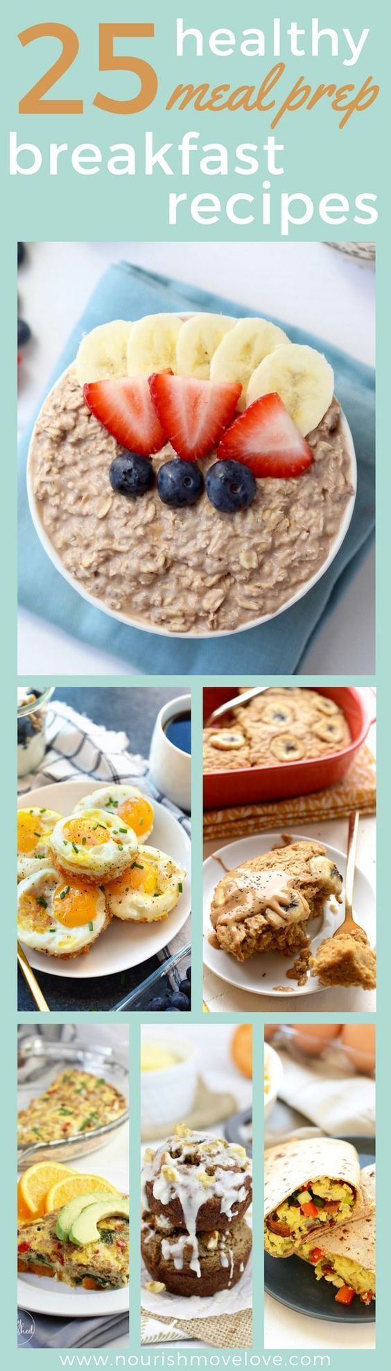 25 healthy meal prep breakfast recipes. Clean eating, simple recipes, easy ingre...