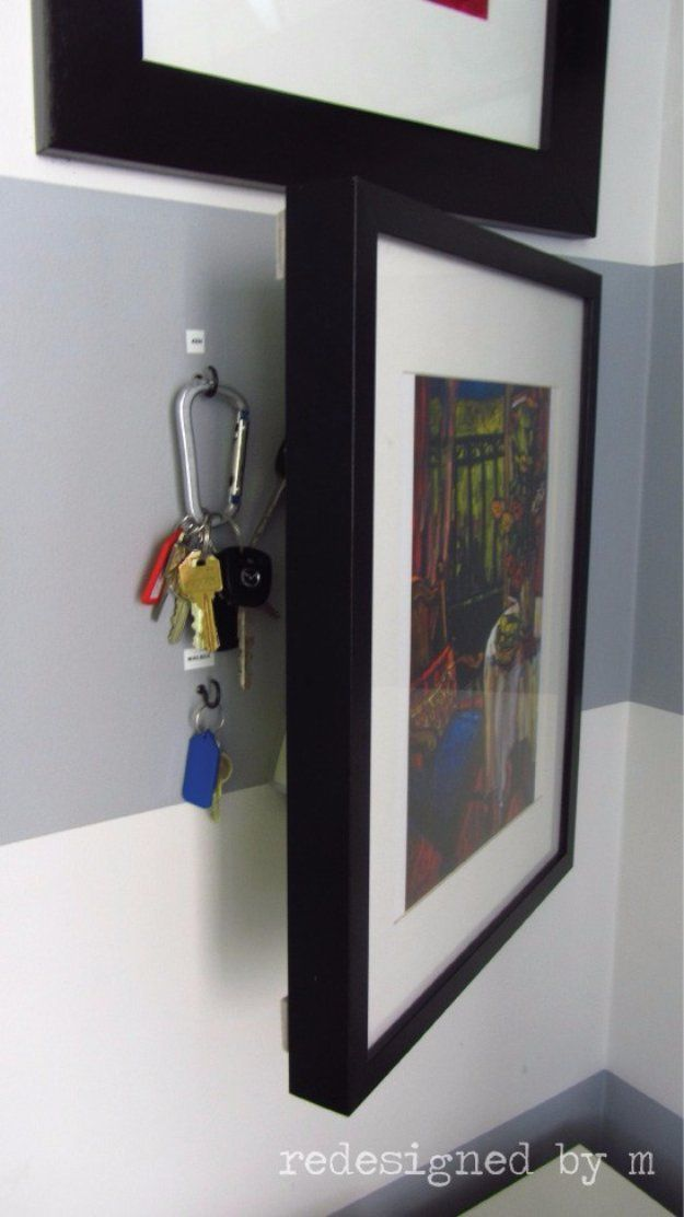 DIY Storage Ideas - Hidden Key Storage  - Home Decor and Organizing Projects for...