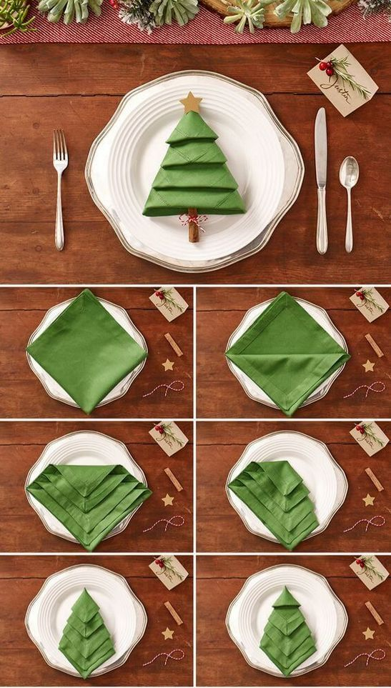 As a tree: How to make the perfect napkin for Christmas Festive, creative ...