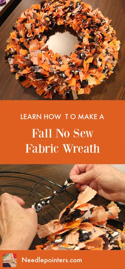 Halloween or Fall No Sew Fabric Wreath