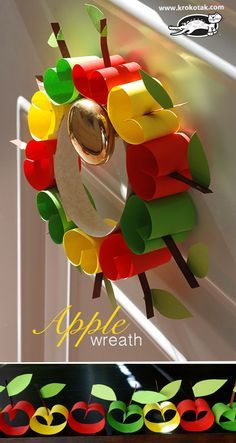 Handicrafts in the fall: sweet apple garland or apple wreath #Basteln #DIY #Fall ...