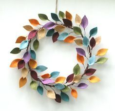 Colorful autumn wreath felt leaves - modern year wreath - wreath ...