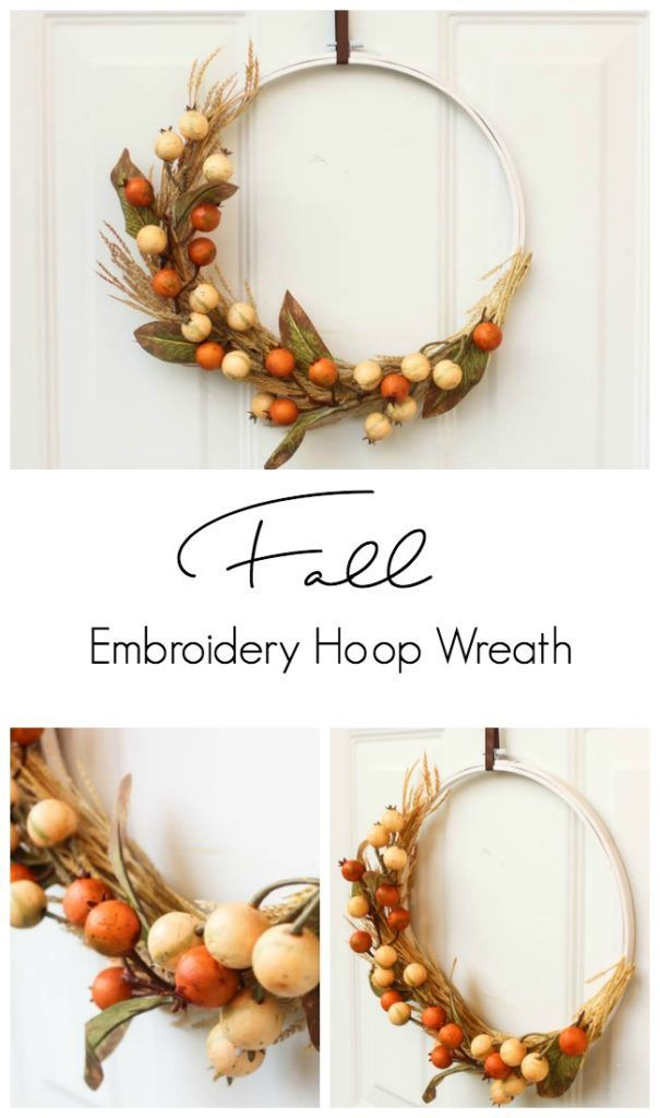 A cheap fall decor idea! Use an embroidery hoop to make a beautiful fall wreath!...