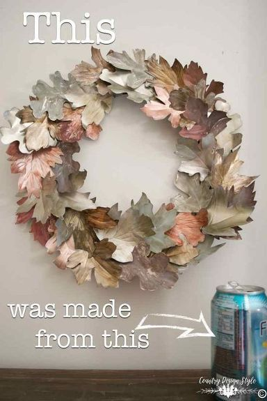 DIY winter wreath for your front door from upcycled soda cans. Create seasonal w...