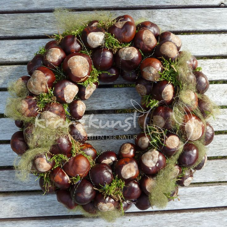 NATURAL CANINE ♥ Chestnut greeting ... ♥ Autumn wreath table wreath
