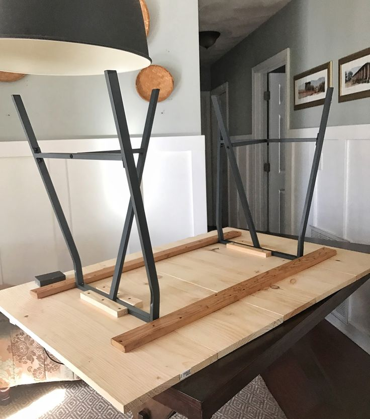 Easy DIY Trestle Dining Table with horizontal pinewood boards and Ikea Lerberg T...