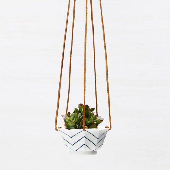 Chevron Hanging Succulent Planter in Porcelain