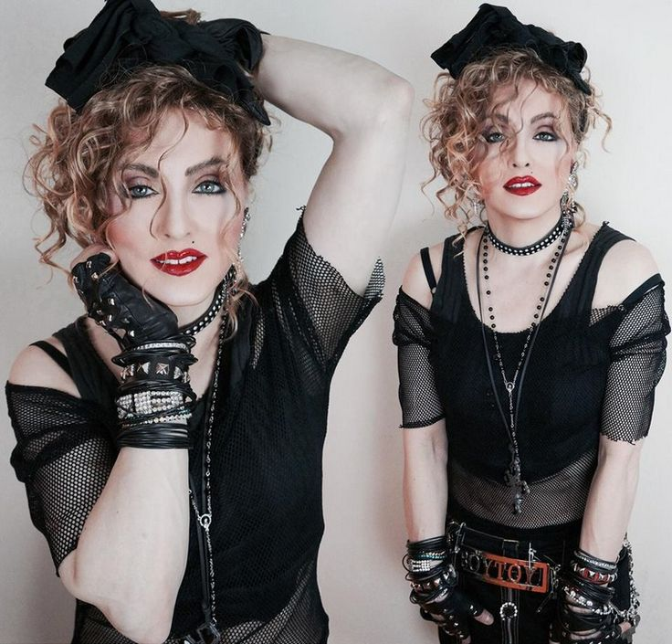 80s-themed party outfit Madonna network blouse-black shell