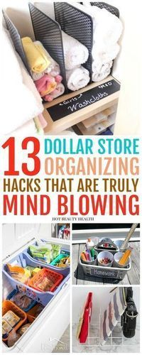 13 Creative Dollar Store Organizing Hacks You'll Love - #Creative #Dollar #Hacks...