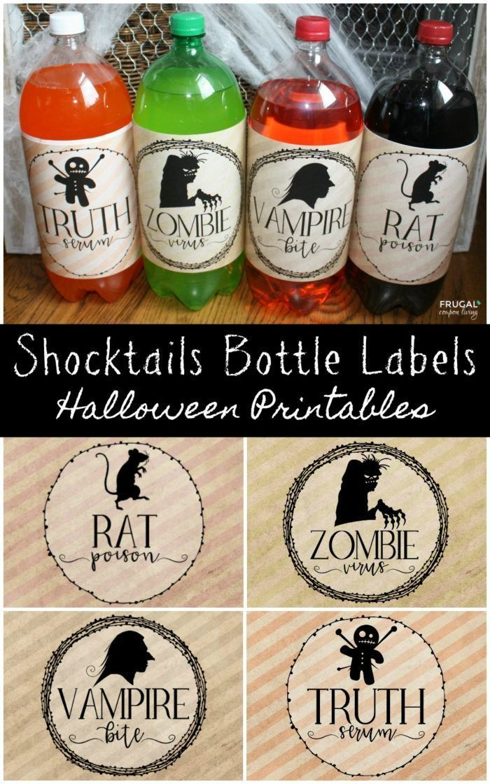 Adorable and Spooky Halloween 2-Liter Shocktails Bottle Labels. Free Halloween p...