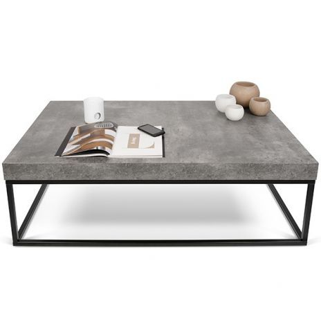 PETRA, coffee table and side table: concrete aspect and steel, without concrete - ent ...