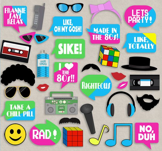 Eighties Style Party props, diy photo booth printables for your 80s themed party...