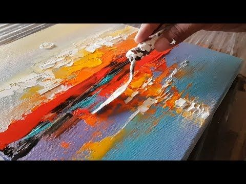 Abstract painting / Abstract landscape 12 / Easy in Acrylics / Demonstration - Y...