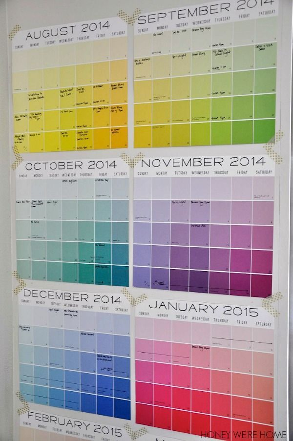 Make a colorful start to the school year! Organized Wall Calendar by Honey We're...