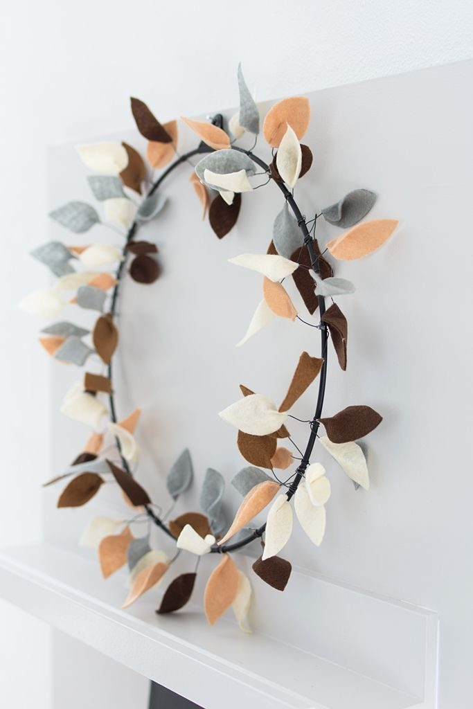 DIY in autumn: Strups metal ring with leaves of felt