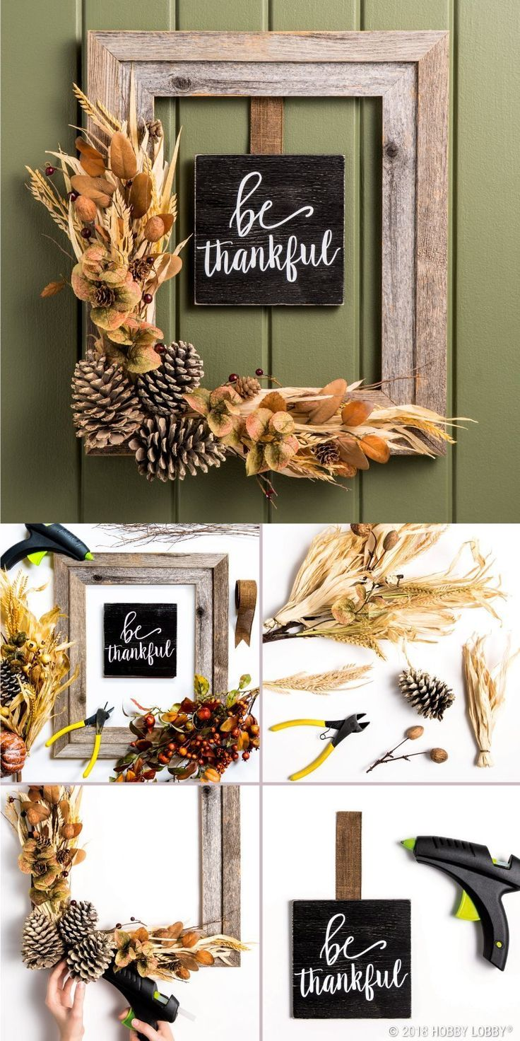 Fall in love with this DIY barn wood wreath for fall! 1) Hot glue desired spray ...